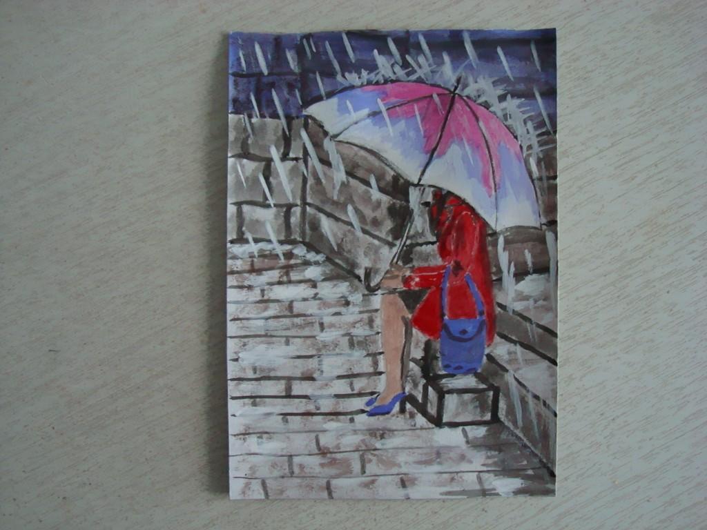 Под дождём.  акварель