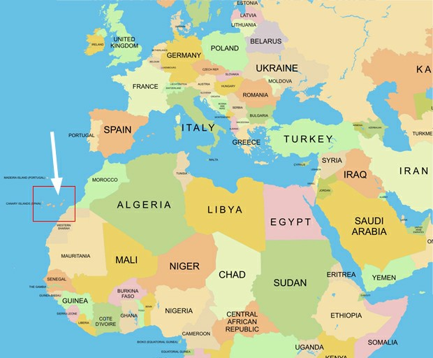 Канарские острова на карте мира где находится