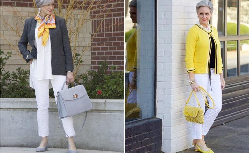 Модные чинос для женщин за 50 --12 простых образов на каждый день