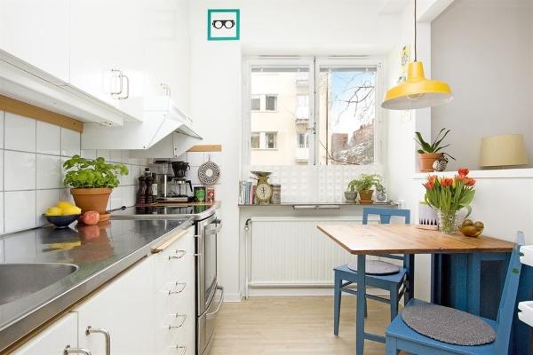 Зонирование кухни и гостиной в дизайне квартиры студии 35 кв м