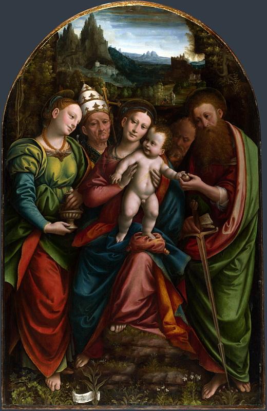 Bernardino Lanino - The Madonna and Child with Saints. Национальная галерея, Часть 1