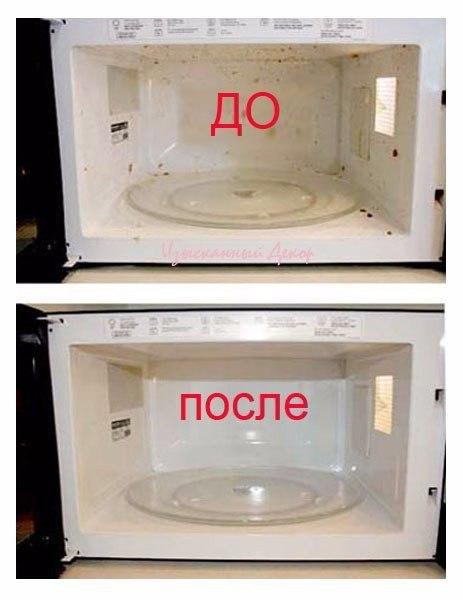 2 ст. ложка уксуса + 1 стакан горячей водой + 10 мин в микроволновой печи = чистота!