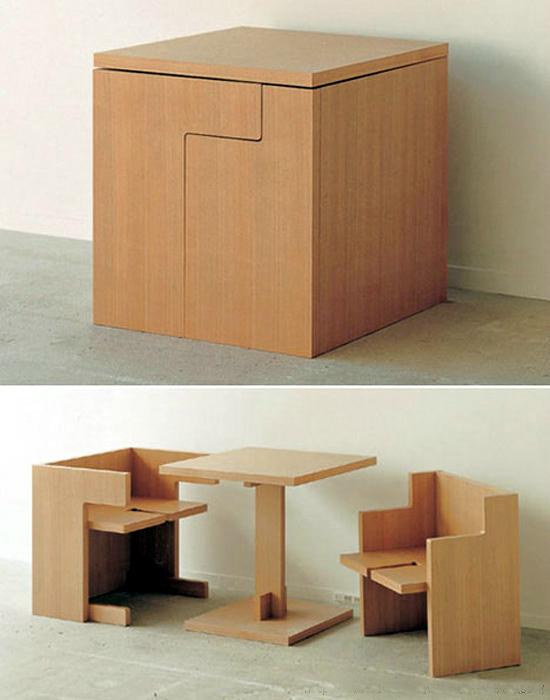 Разборная тумбочка, которая превращается в два стула и стол.