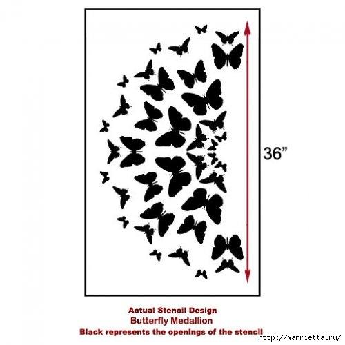 Порхающие бабочки в интерьере. Трафареты для стен и потолка (39) (500x500, 75Kb)