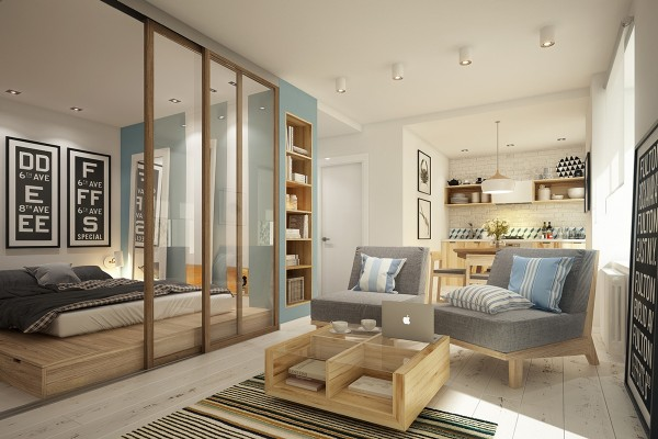Гостиная и спальня в дизайне 1 комнатной квартиры 40 кв м