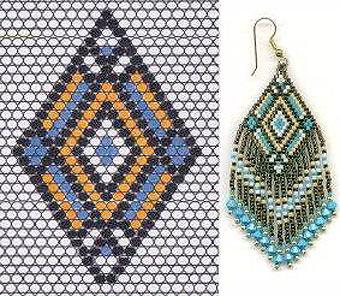 схема плетения серьги из бисера
