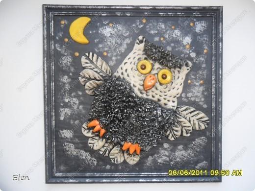 Картина, рисунок, панно Лепка: сова соленое тесто Тесто соленое