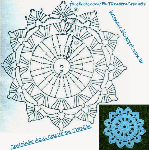 EU TAMBÉM CROCHETO...: Centro Azul Celeste em Trapilho