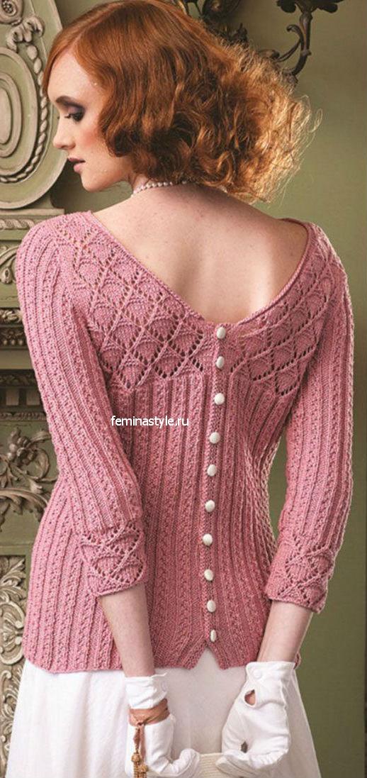 Пуловер с пуговицами на спине спицами