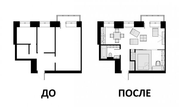 Дизайн проект квартиры 40 кв м - чертеж до и после