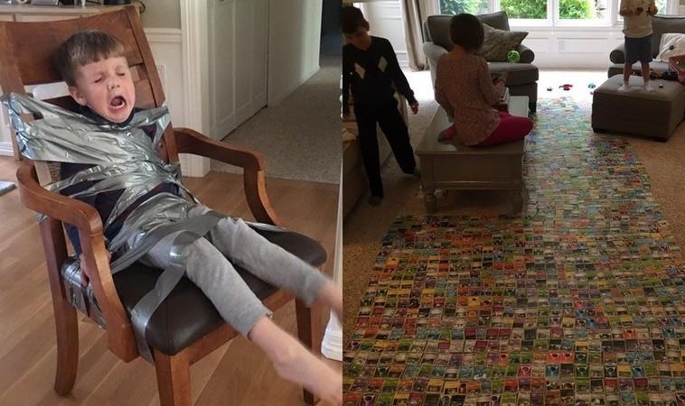 Дети привязали младшего брата к стулу скотчем, потому что он мешал им играть в покемонов