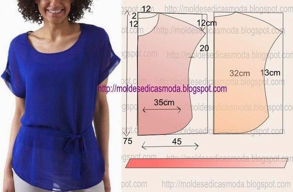 Летние блузы топы и туники. МК, варианты моделирования