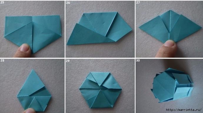 Бумажные цветы в горшочках в технике оригами (6) (690x386, 158Kb)