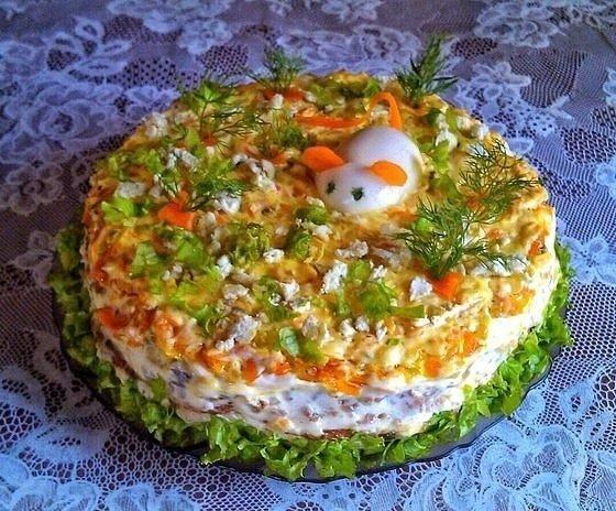 Очень вкусный печеночный торт из куриной печени с грибами и морковью