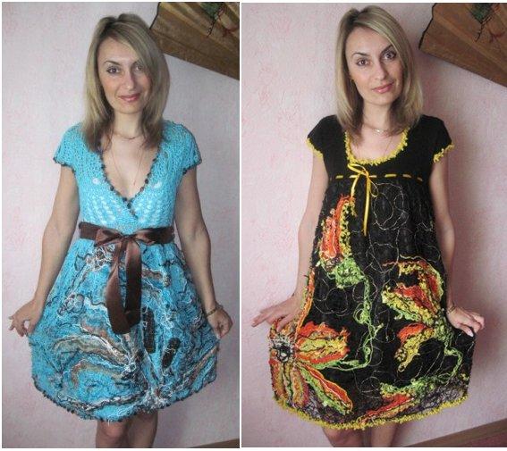 Два платья в технике крейзи-вул. Мастер-классы.  Идеи