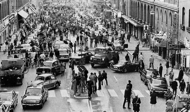 9 Первое утро после того как Швеция перешла с левостороннего движения на правостороннее Стокгольм 1967г война история память
