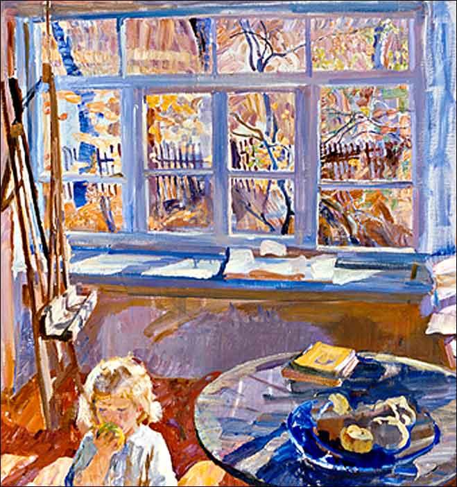 Очень много солнечного света, над землёй стоит голубизна... Художник Андрей Левитин