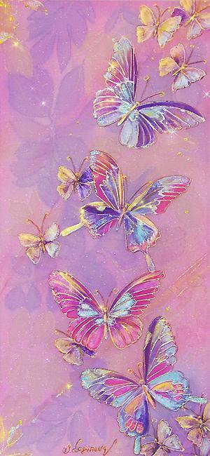 Логинова Светлана. Бабочки в нежных розово-сиреневых тонах