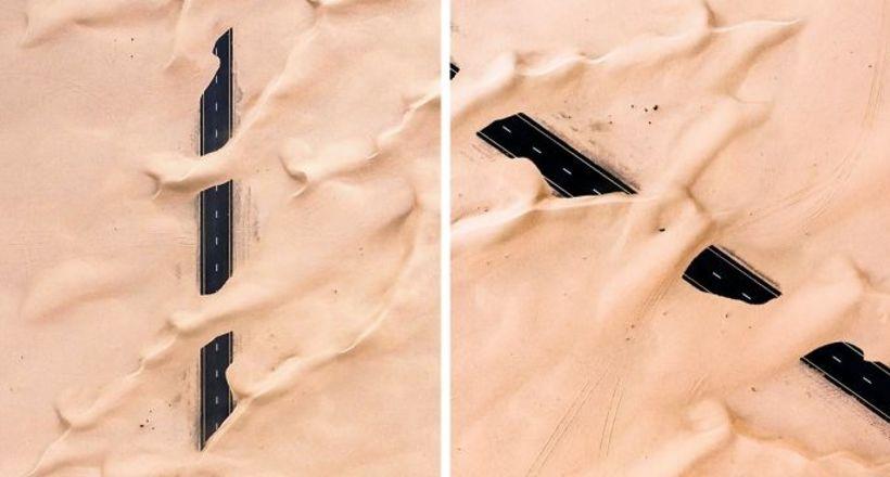 Невероятные фото о том, как пустыня поглощает Дубай и Абу-Даби