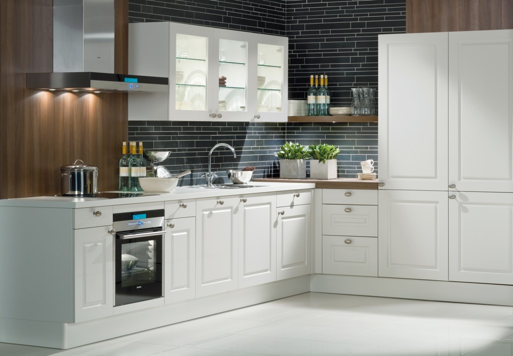 kitchen classic base and tall units in crystal matt finish 1024x711 Дизайн фасадов кухонных шкафов 60 фото