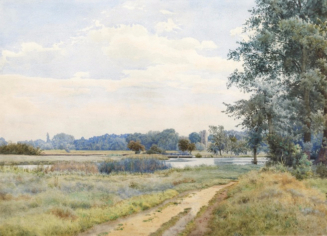 Река Аус в Хемингфорд-Грей, Кембриджшир (The river Ouse at Hemingford Grey, Cambridgeshire). 1890 (656x474, 334Kb)