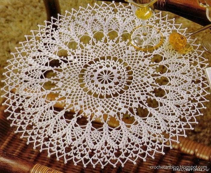 Круглые салфетки крючком. Схемы (17) (700x575, 502Kb)