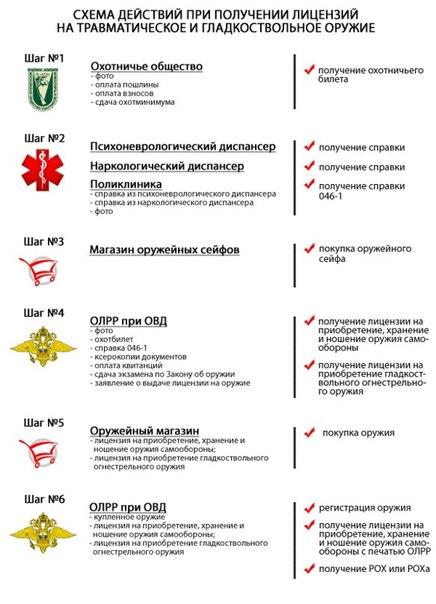 Схема действий при получении лицензий на травматическое и гладкоствольное оружие