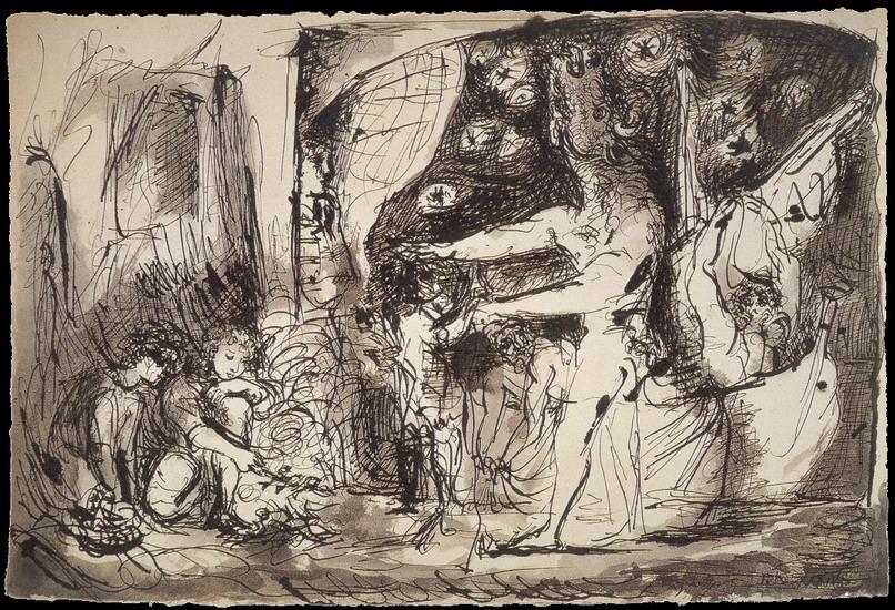 Пабло Пикассо. Слепой минотавр и девочки. 1934 год