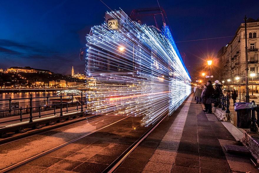 trams10 Чудесные светящиеся трамваи в ночном Будапеште