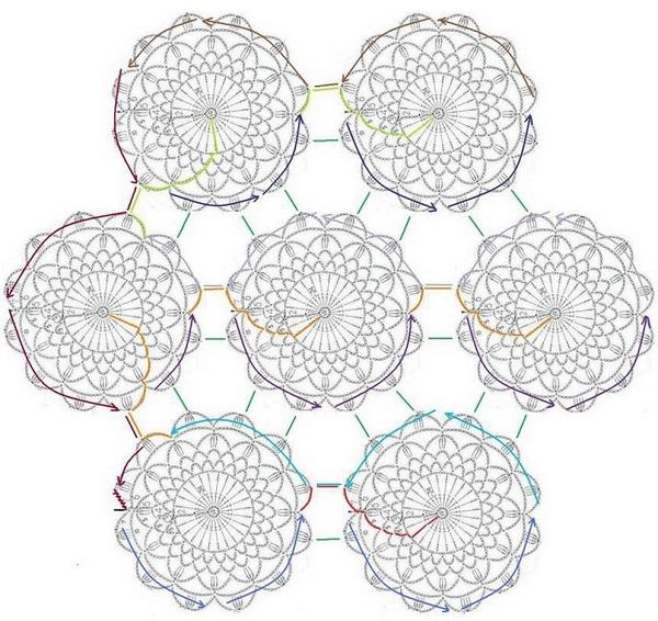 Снежная скатерть из круглых мотивов. Схема