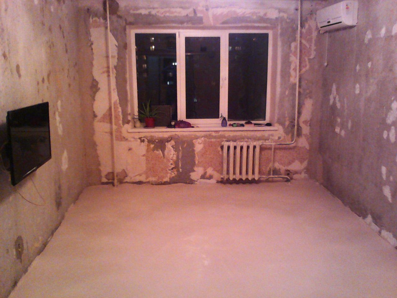 На предварительно огрунтованное основание заливаем новый пол. ремонт, рукожопие, японский стиль