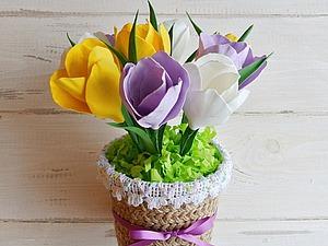 Встречаем весну: мастерим крокусы из фоамирана в горшочке | Ярмарка Мастеров - ручная работа, handmade