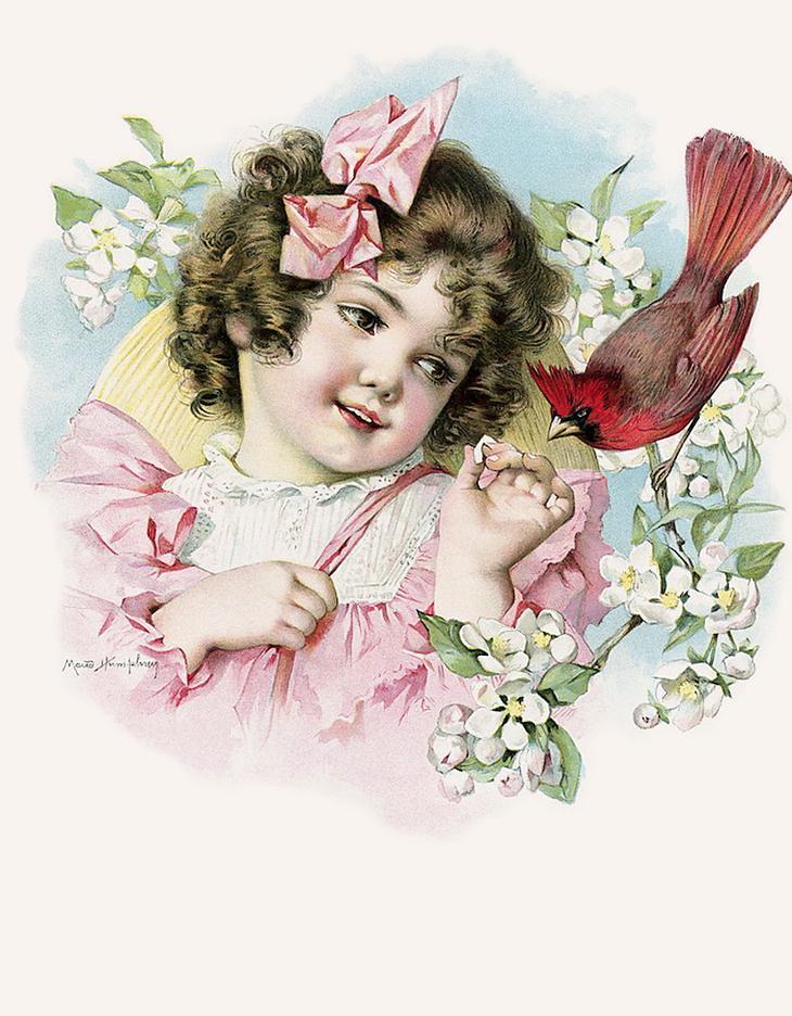 Девочка на старинных открытках 121