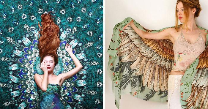 Художница и дизайнер превращает модниц в красивых птиц.Это что-то невероятное!