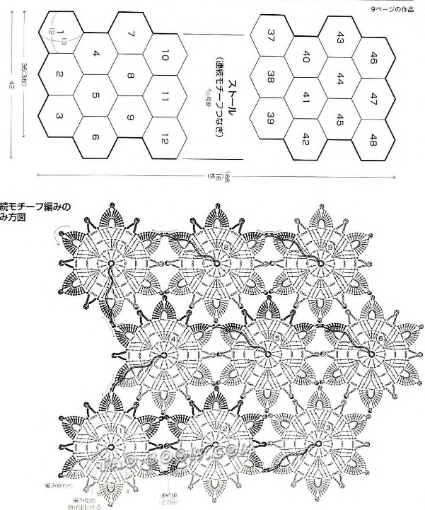 Безотрывное вязание крючком цветочных мотивов схемы