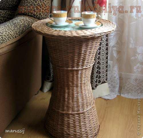 Мастер-класс по плетению из газет: Чайный столик