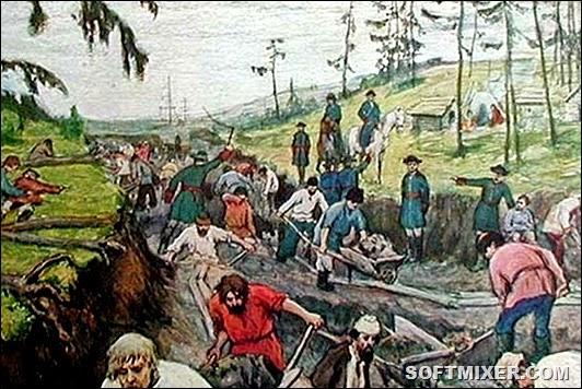 002 Строительство Ладожского канала. Рисунок Г.Р. Моравов