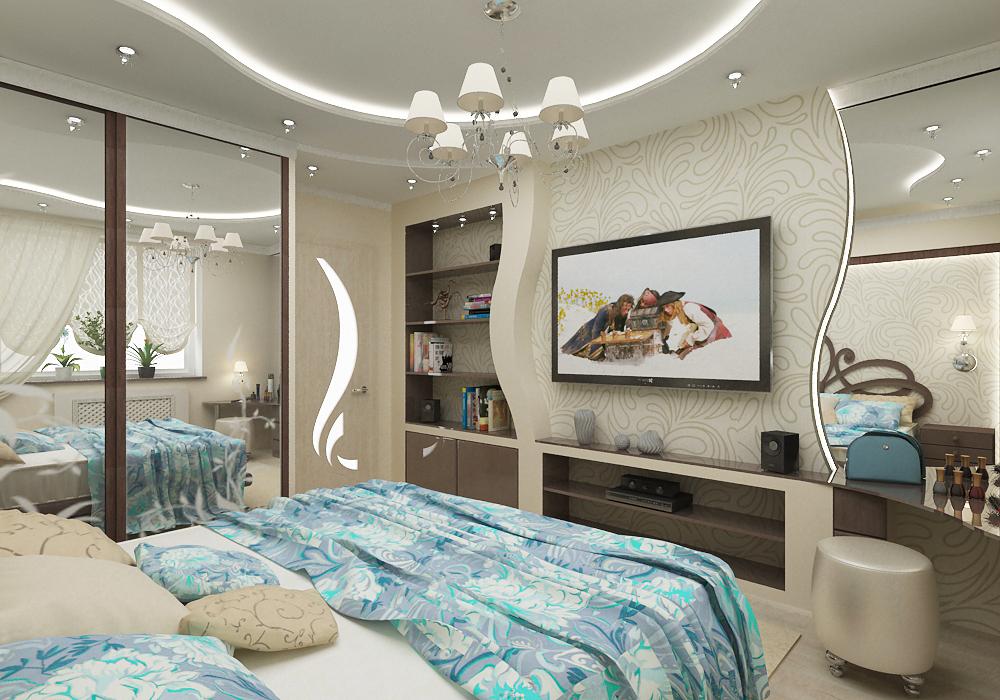 Стены из гипсокартона фото спальня