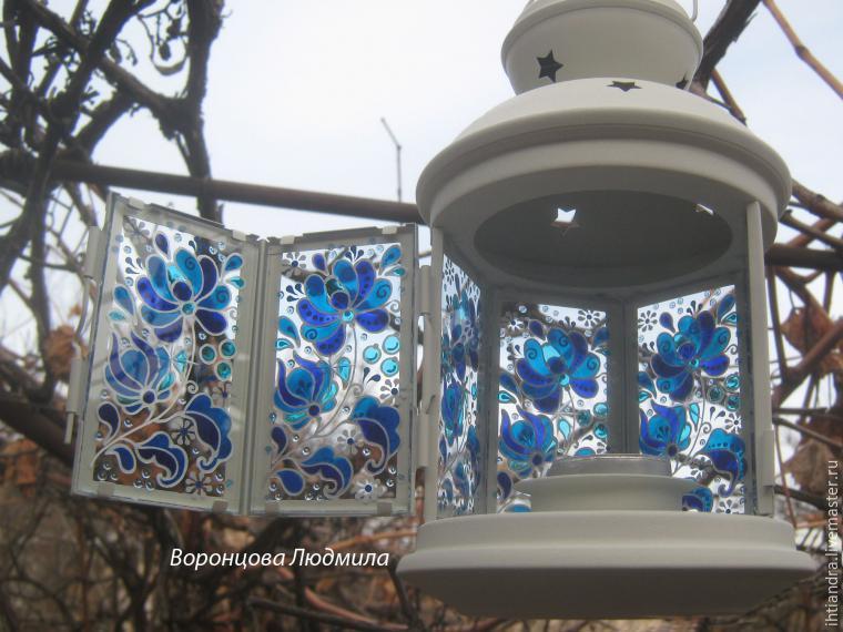 Роспись по стеклу фонарик 146