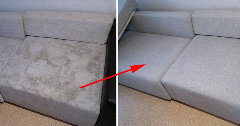Нестандартный и эффективный способ очистить диван минералкой