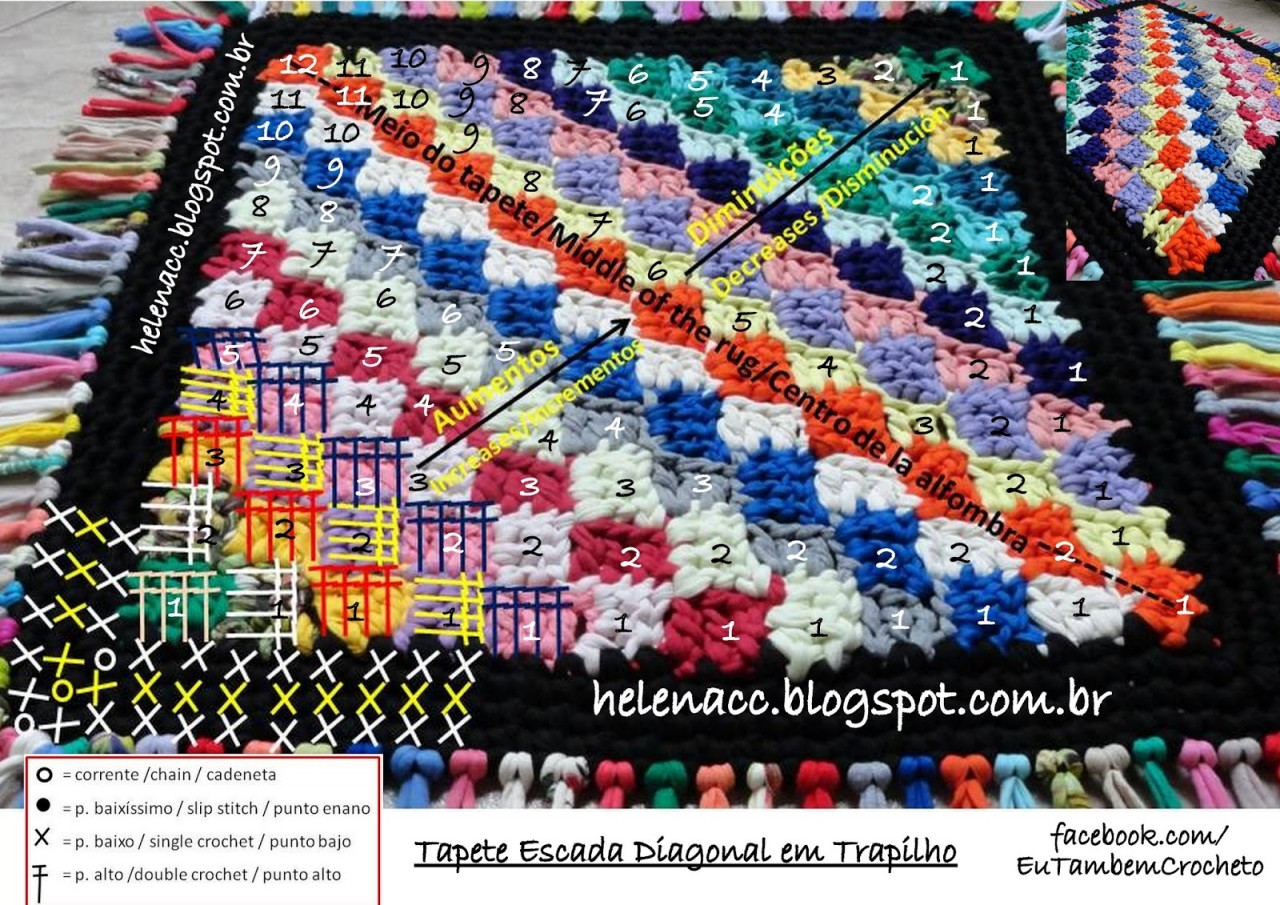 Коврик с диагональным рисунком из ленточной или футболочной пряжи