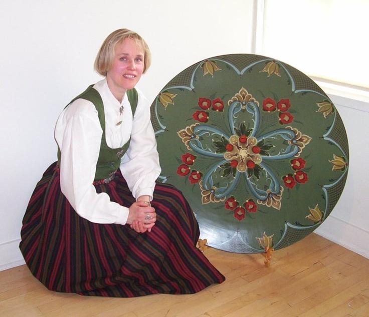 Artist with her Norwegian Rosemaling