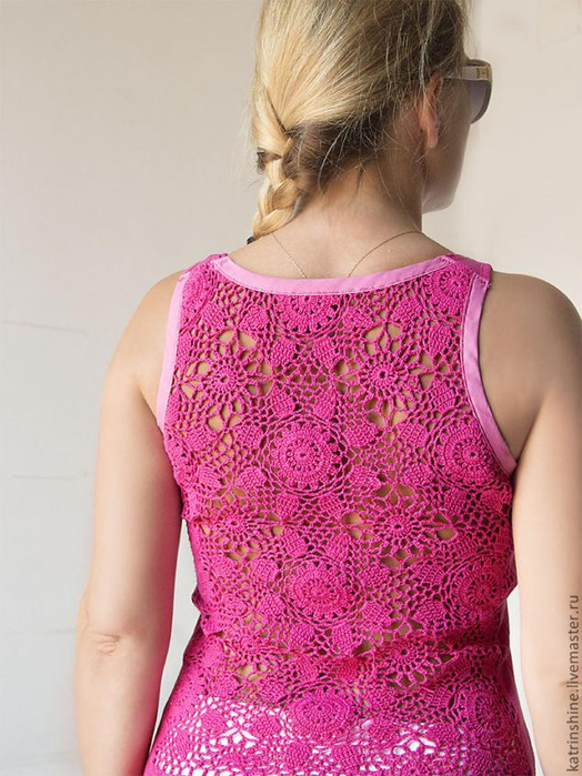 Майка с кружевной спиной или новое применение   вязаной салфетки