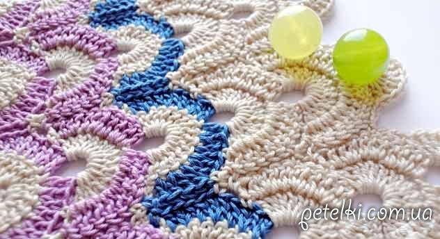 Узор крючком - разноцветные арочки. Схема, МК в картинках