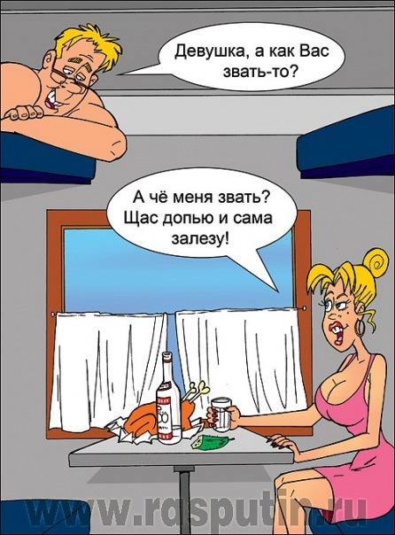 В купе поезда случайные попутчики мужчина и женщина... Улыбнемся))