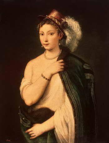 Тициан. Молодая женщина в шляпе с пером