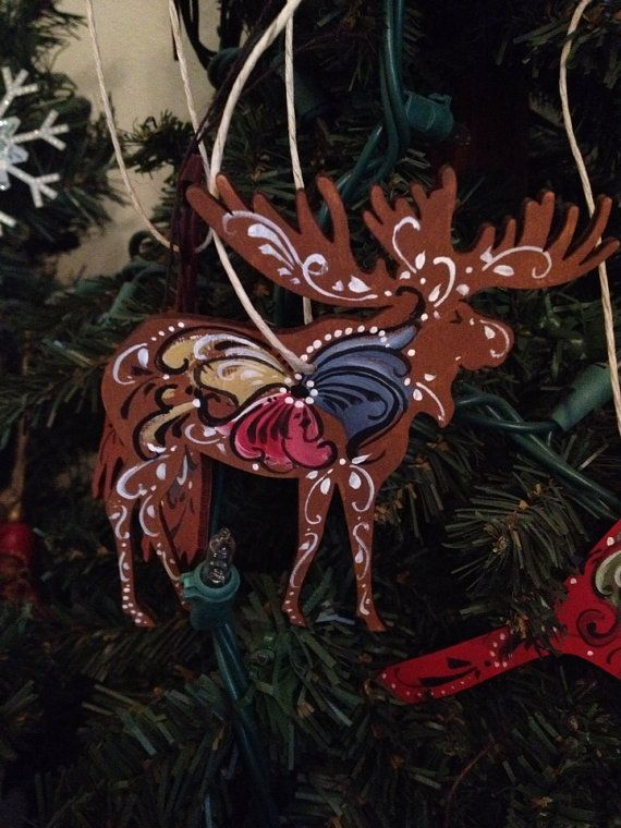 Norwegian Rosemaled moose ornament large by OlsenTrademarkCrafts, $11.00
