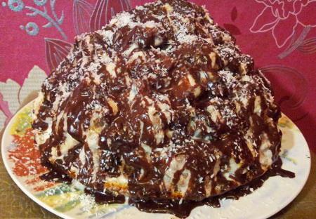 Торт «Панчо» с ананасами и шоколадом в домашних условиях