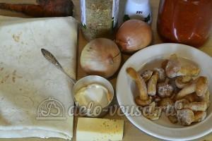 Рулет из лаваша с грибами: Ингредиенты