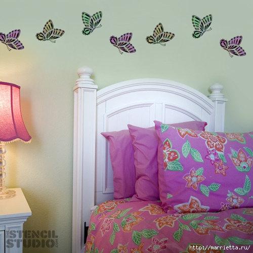 Порхающие бабочки в интерьере. Трафареты для стен и потолка (21) (500x500, 145Kb)